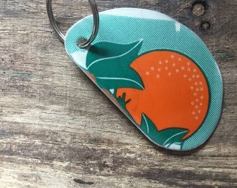 Upcycled license plate key chain Florida orange