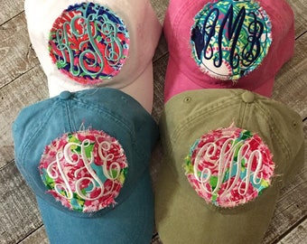 Monogram Raggy Patch Baseball Cap Hat Headwear Lilly Pulitzer