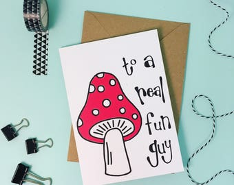 Fathers Day Card, rad dad, birthday card, screen printed greetings card, toadstool illustration
