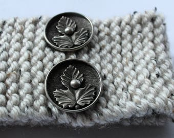 Hand knitted Headband with Metal maple leaf buttons, Hair accessory, Canada, Winter, Handmade, Buttons, dreads, Made by Indigo