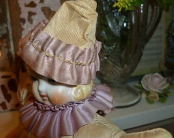 Vintage French Clown Pin Cushion With Ceramic Head 1920's-1930's