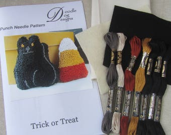 Primitive Punch Needle KIT ~ Black Cat & Candy Corn ~ PunchNeedle Bowl Filler pattern ~ Folk Art ~ complete needle punch kit ~ halloween
