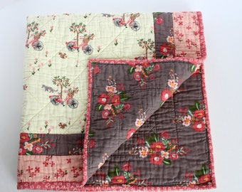 Muslin Quilt, Baby Quilts Handmade, Floral Quilt, Muslin Baby Quilt, Floral Baby Bedding, Organic Baby Quilt, Best Baby Gifts, Crib Quilt