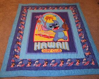 """Stitch - Lilo and Stitch -  51"""" x 58"""" - Stitch Quilt - Lilo and Stitch Quilt - Stitch Blanket - Stitch Throw"""