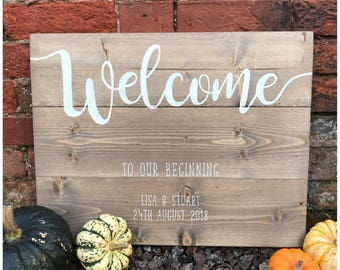 Welcome sign - Welcome to our beginning - Personalised Wedding sign - Rustic wedding sign - Wedding welcome sign - Wedding sign