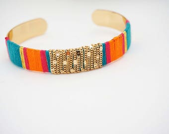 Blue, Orange, and Gold Tribal Cuff Bracelet
