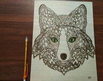 "Pyrography Woodburning, Wolf 11""x8.5"""