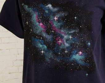 astronomy gift for her or for him nebula T-shirt space shirt stars galaxy clothing hand painted nebula on navy top navy t-shirt size Large