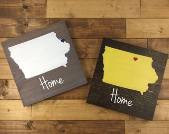 Pick Colors, Iowa Wood Sign, Iowa State Sign, Hand Painted, Iowa decor, Iowa art, Iowa sign, State Guest Book, Iowa plaque