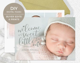 Birth Announcement Template - Instant Download, DIY Birth Announcement, Personalized Birth Announcement, Photoshop Template, Printable Baby
