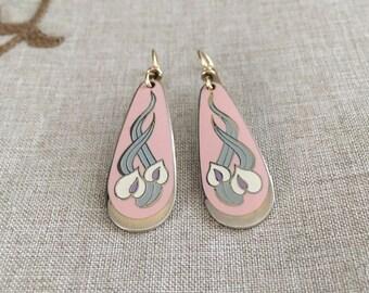 """Laurel Burch Vintage """"Wild Anthurium"""" Dangle Earrings"""