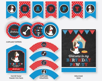 Instant Download, Puppy Party Package, Dog Party Package, Puppy Birthday Package, Dog Party Pack, Puppy Party Printables, Chalkboard(CKB.25)