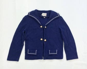 ON SALE 60s xs SAILOR Jacket Navy Blue Cropped Jacket Womens Extra Small Lightweight White Piping Trim Textured Link 3/4 Sleeve Cutesy Girli