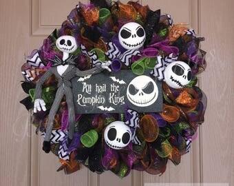Nightmare Before Christmas wreath. Halloween wreath. Jack the Skeleton wreath. Spooky wreath. Pumpkin wreath. Jack & Sally. Pumpkin King.
