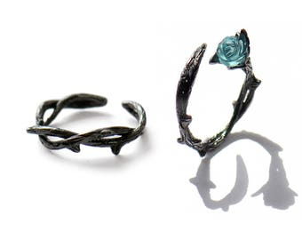 Vintage Style Couple Thorns Ring 925 Sterling Silver with Elegant Sculptured Blue Rose