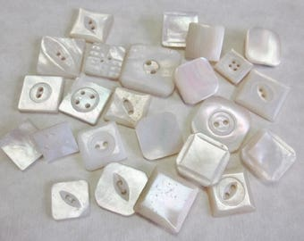 24 Square Pearl Buttons.  MOP Modified Square Buttons.  Craft Buttons.  Jewelry Buttons.  OneWomanRepurposedB 6