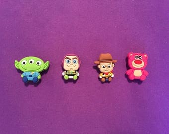 4-pc Toy Story Shoe Charms for Crocs, Silicone Bracelet Charms, Party Favors, Jibbitz