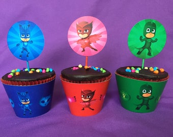 Printable PJ Masks Cupcake Wrappers / Cupcake Toppers, INSTANT DOWNLOAD