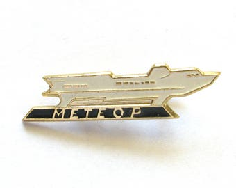 SALE, Speed boat Meteor, Soviet badge, Ship, Vintage collectible badge, Soviet Vintage Pin, USSR, 1980s