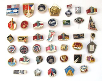 Soviet space badges in bad condition, Set, Sale, Cosmos, Collection, Vintage badge, Soviet Vintage Pin, Soviet Union, USSR, 60s, 70s, 80s