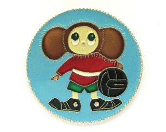 Cheburashka, Badge, Character from soviet cartoon, Vintage collectible badge, Soviet Vintage Pin, Made in USSR