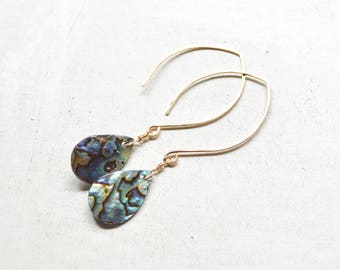 Paua Shell Earrings, Gold Hook Earrings, Paua Gold Earrings, Paua Teardrop Earrings, Shell Earrings
