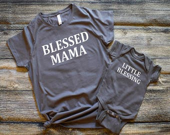 Blessed Mama Shirt Set, Matching t-shirts, Mommy and Me Tops, Pregnancy Reveal, Shower Gift, Little Blessing