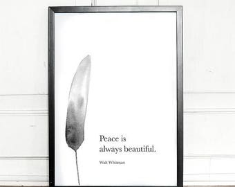 SALE - 25% OFF - Peace is always beautiful, Walt Whitman Quote, Poem, giclee art print, wall decor, home decor