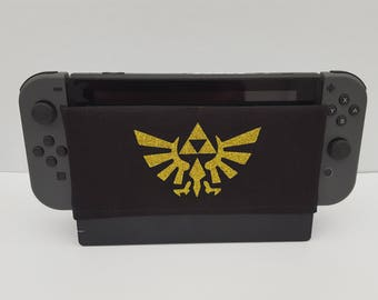 Zelda (Black) Inspired Nintendo Switch Dock Sock Cover Geeky Retro Gaming Video Game Screen Cozy Soft Fun Accessories Cover Handmade Fashion
