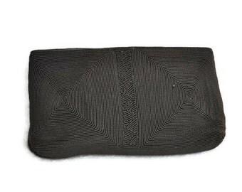 Vintage 1940's Brown Corde Clutch Bag // 40s Brown Evening Bag Genuine A/B Corde