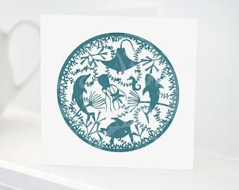 Under The Sea CARD (ROUND) | Sealife | Ocean | Stingray | Turtle | Starfish | Jellyfish | Seahorse | Seaweed | Papercut