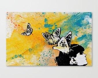 "Original painting on paper Butterfly woman portrait Graffiti Modern wall art Spray paint & acrylic Street art Figurative painting 16""x10"""