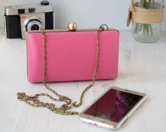 Hot pink leather clamshell clutch bag | Miniadaure evening purse | unique | One of a Kind | Gift for women | Genuine leather