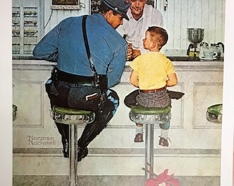 Wall Art, Poster Art, Norman Rockwell The Runaway, rare out of print 22 1/2 x 25 1/2 Poster