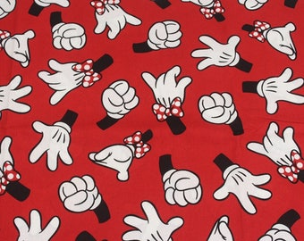 100X150CM Very Cute Red Disney Mickey Mouse Minnie Mouse Hands Cotton Plain Fabric Mickey Minnie