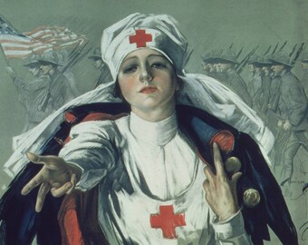 Red Cross Nurse Painting 1917 - 1919. Fine Art Print/Poster. (4882)