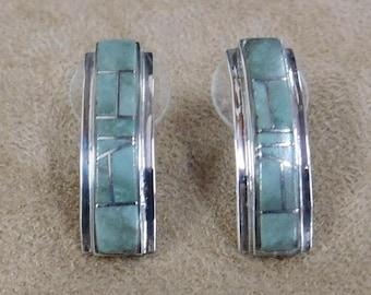 Sterling Silver and Inlay Variscite  Post Hoop Earrings