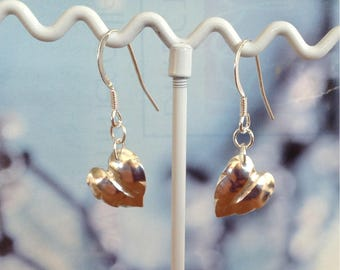 Sterling Silver Heart and Leaf shaped Earrings