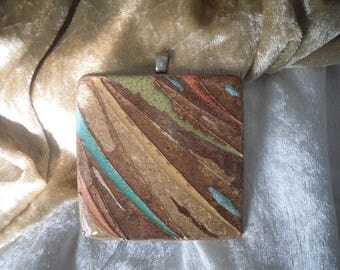 large square multicolored wooden, warm colors ethnic pendant, handmade