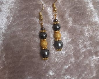 Earrings grey charcoal and gold balls and metal beads