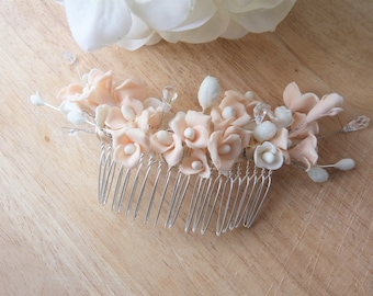 Flowers made of porcelain and Swarovski Crystal bridal hair comb