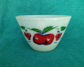 Fire-King Glass Apples and Cherries Splash Proof 3 Quart Mixing Bowl