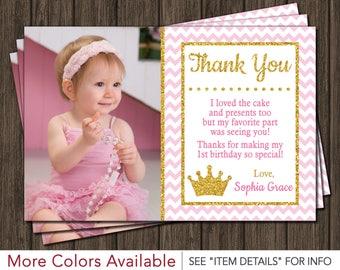 Princess Thank You Card | Princess, Pink and Gold, Birthday Thank You Card