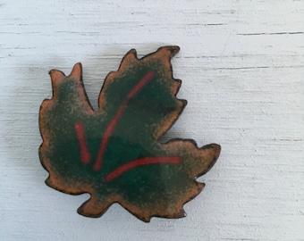 Enamel and copper maple leaf brooch 1960s vintage pin