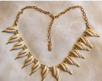 ON SALE: Beautiful Vintage Emmons Necklace - Gold Tone with White Enamel Stylized Leaves, 1960s