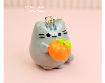 Mini Pusheen the Cat Charm Pendant Necklace Polymer Clay Handmade Jewelry Gift