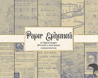 Digital Paper Ephemera, Vintage Paper Pack - Scrapbooking, Textures Decoupage, Backgrounds Antique Vintage Newspaper, Letters, Maps