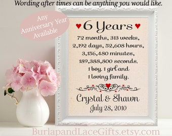 6th Anniversary Gift to Wife Anniversary Gift for Husband Gift to Husband Wedding Anniversary Gift for Her Gift to Her Wife Gift (ana207-6)