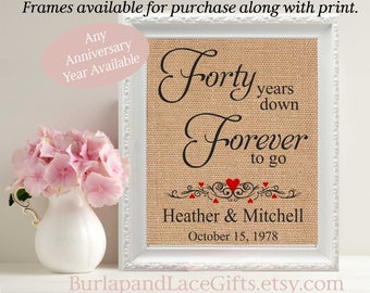 40th Wedding Anniversary 40 Years Down Anniversary Husband Gift Wife Anniversary Gift to Wife Personalized Anniversary Wife gift (208)