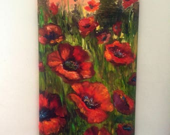 """Plentiful Poppies"""" is an original pallet knife oil painting on canvas 24""""x12"""""""